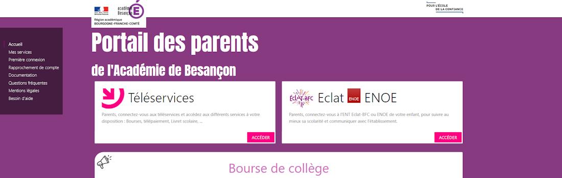 """Tutoriel pour la connexion des parents d'élèves au site téléservices et au nouvel espace numérique de travail (ENT) """"ECLAT"""""""