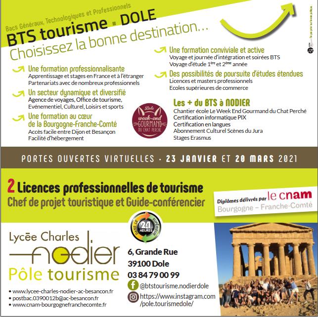 journées portes ouvertes 2021 BTS tourisme Dole